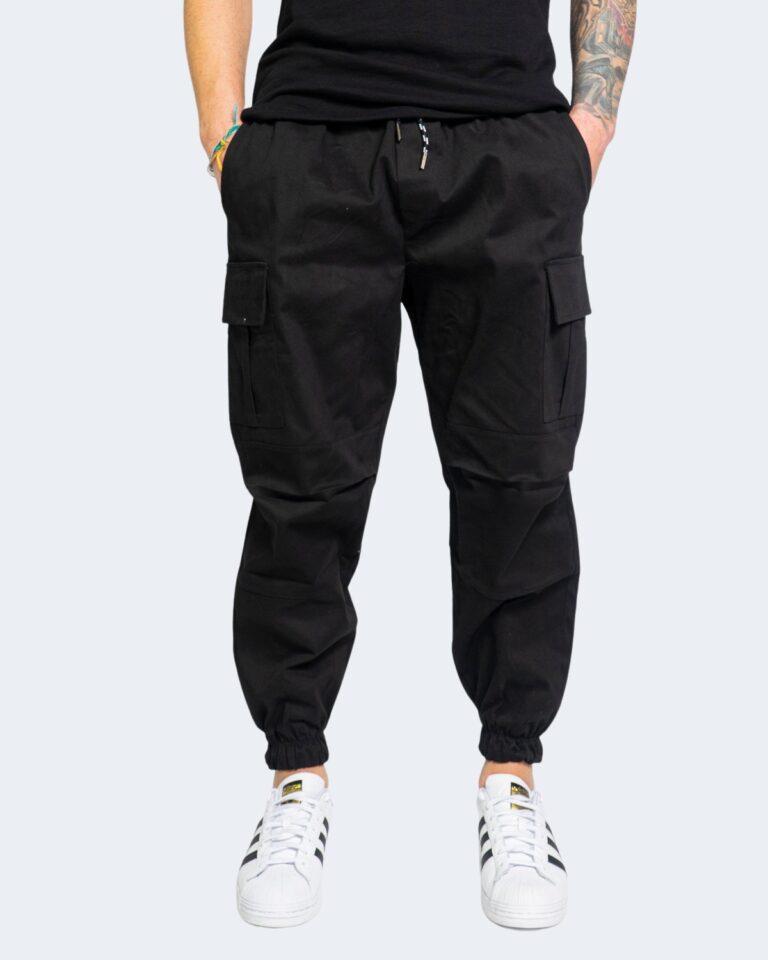 Pantaloni con cavallo basso Hydra Clothing TASCHE LATERALI Nero - Foto 1