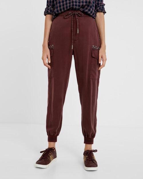 Pantaloni Desigual Pant greta Bordeaux – 59152