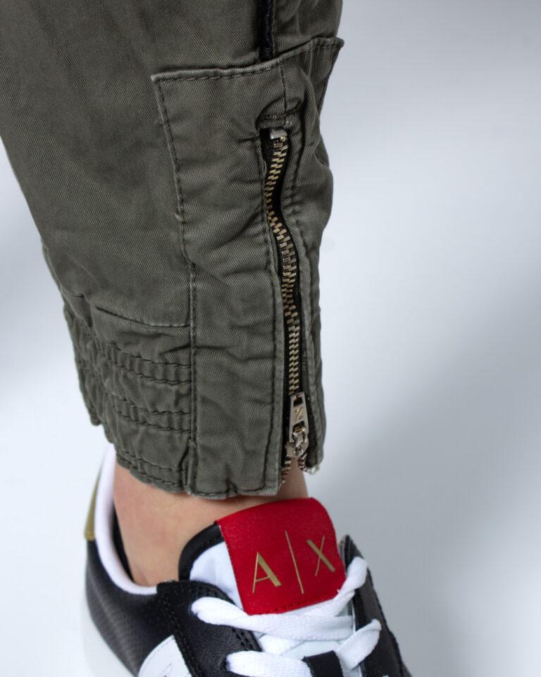 Pantaloni slim Displaj ZIP CAVIGLIA Verde Oliva - Foto 4