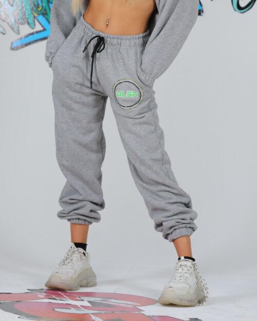 Pantaloni sportivi GLSR MOLLA LOGO STRASS Grigio Chiaro - Foto 1