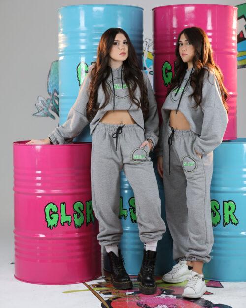 Pantaloni sportivi GLSR MOLLA LOGO STRASS Grigio Chiaro - Foto 2