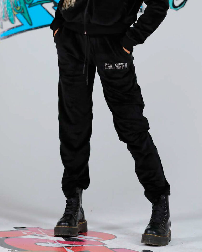 Pantaloni sportivi GLSR LOGO STRASS Nero - Foto 1