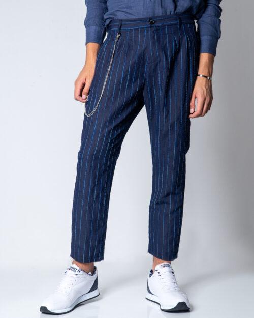 Pantaloni con cavallo basso Imperial Gessato baggy Blu – 42570