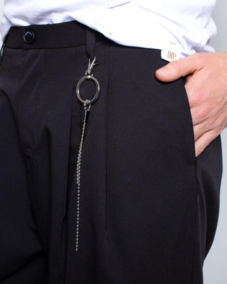 Pantaloni con cavallo basso Imperial APPLICAZIONE CATENA Nero - Foto 4