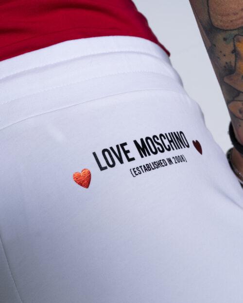 Pantaloni sportivi Love Moschino CORE BLACK AND WHITE Bianco - Foto 4
