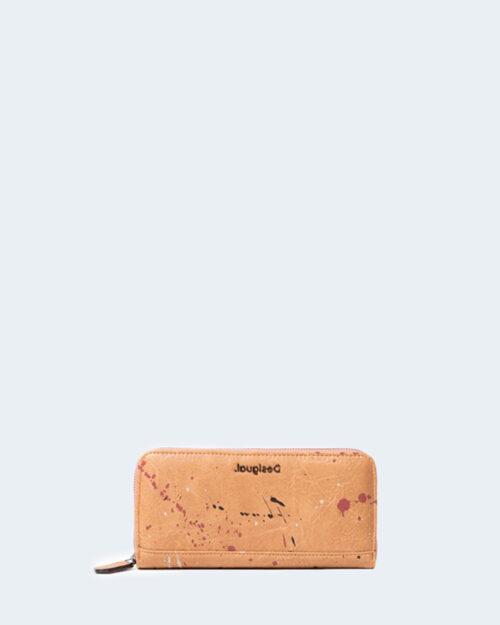 Portafoglio grande Desigual Mone sky splatting zip around Beige scuro – 55039