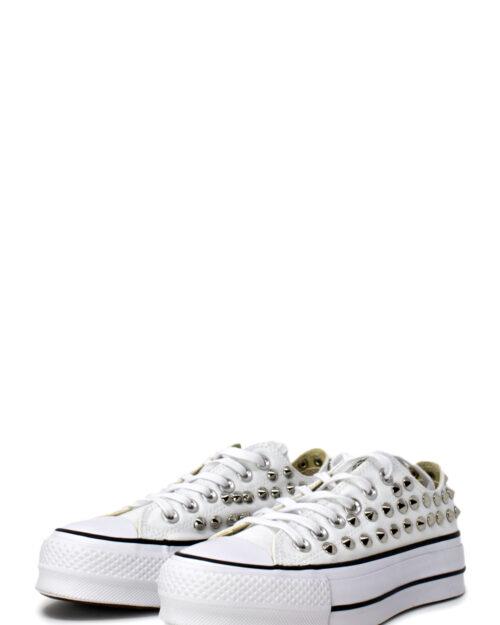 Sneakers Converse PLATFORM PERSONALIZZATA CON BORCHIE Bianco - Foto 5