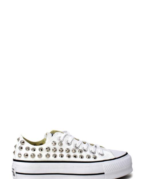 Sneakers Converse PLATFORM PERSONALIZZATA CON BORCHIE Bianco - Foto 2