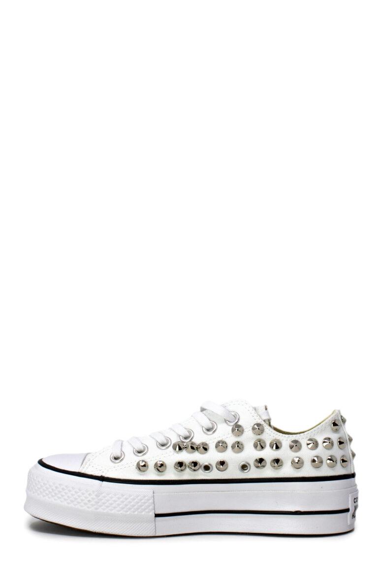 Sneakers Converse PLATFORM PERSONALIZZATA CON BORCHIE Bianco - Foto 3