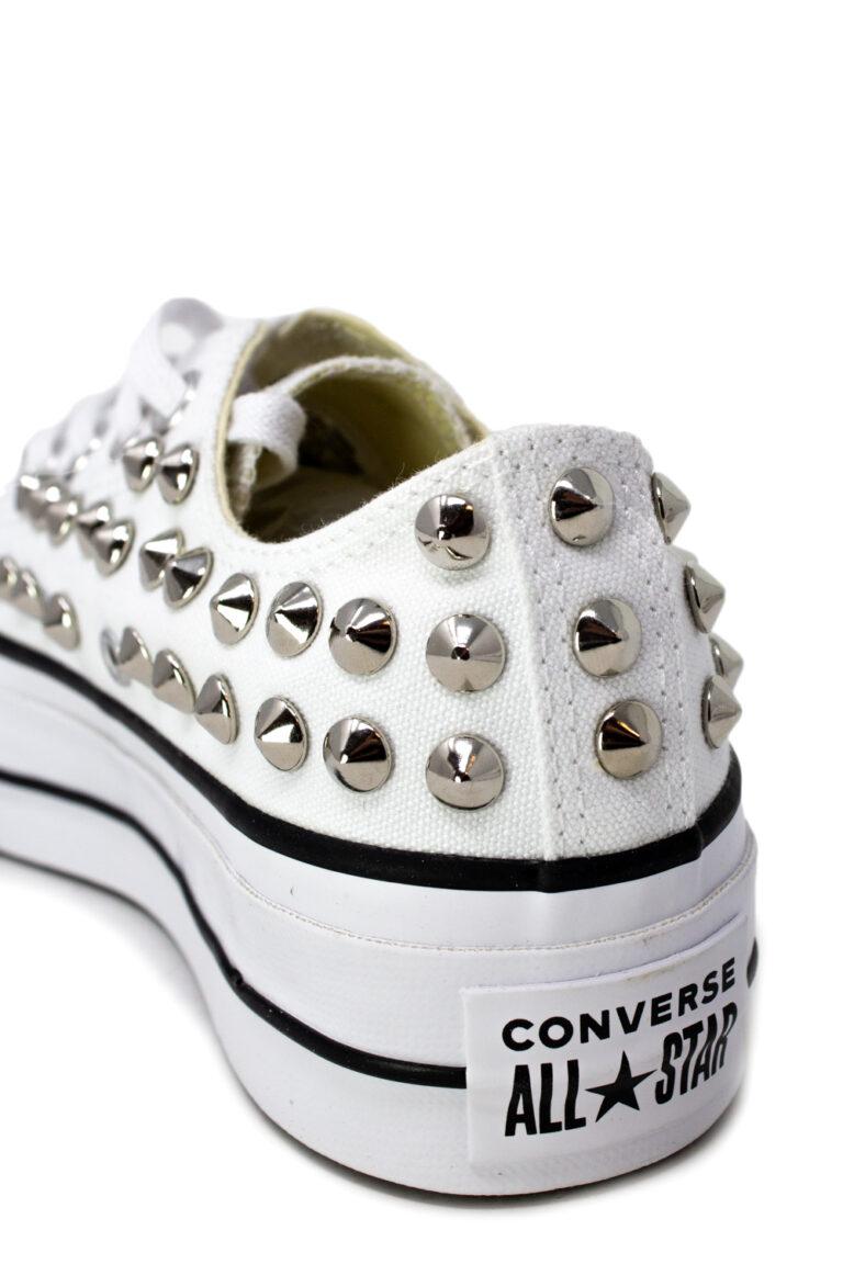 Sneakers Converse PLATFORM PERSONALIZZATA CON BORCHIE Bianco - Foto 4