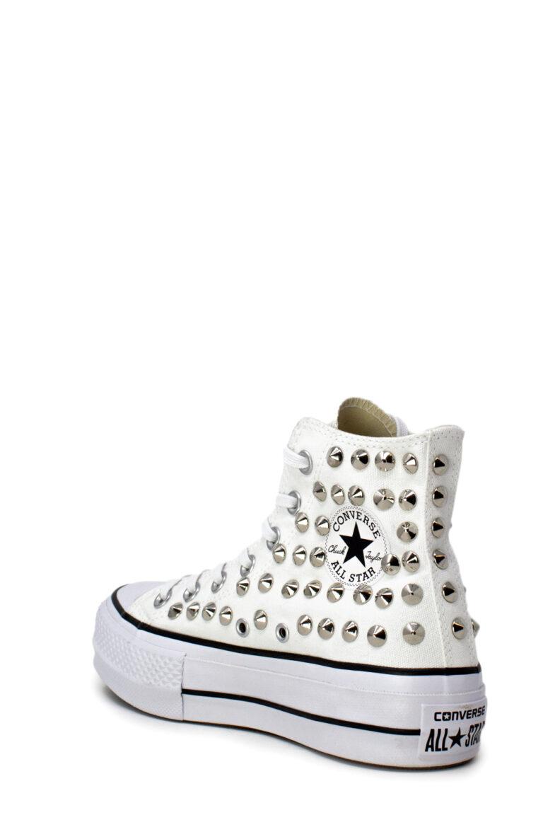 Sneakers Converse PLATFORM PERSONALIZZATA ALTA CON BORCHIE Bianco - Foto 4