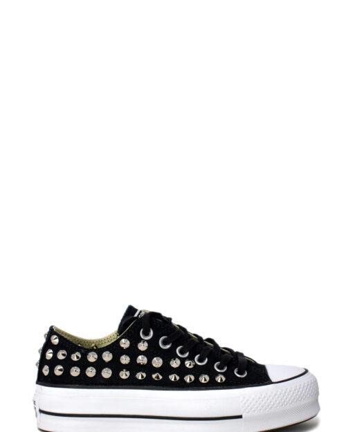 Sneakers Converse PLATFORM PERSONALIZZATA CON BORCHIE Nero – 28974