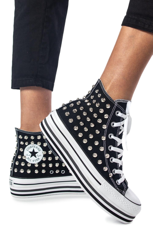 Sneakers Converse PLATFORM PERSONALIZZATA NEW ALTA Nero - 38589