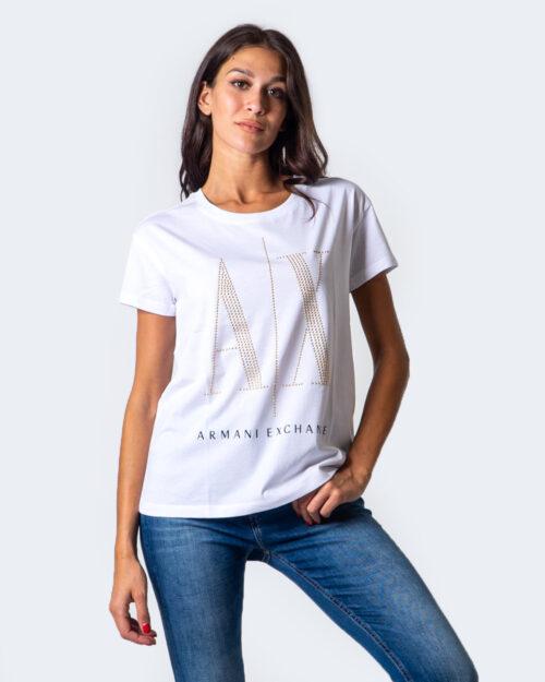 T-shirt Armani Exchange LOGO BORCHIE Bianco - Foto 1