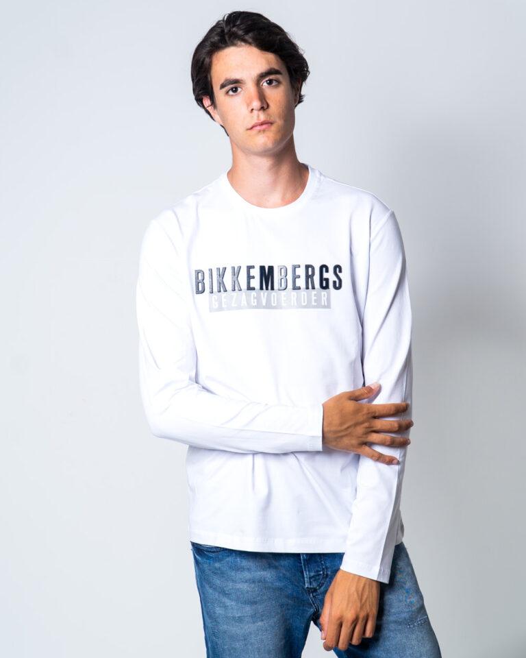 T-shirt BIKKEMBERGS STAMPA LOGO GOMMATO Bianco - Foto 1
