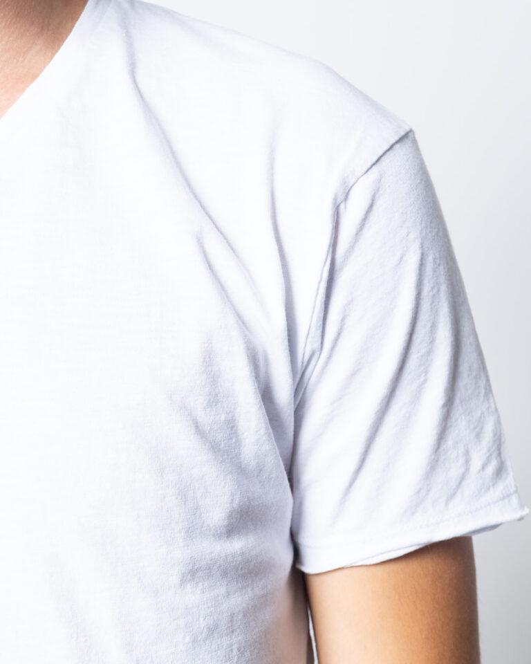 T-shirt Brian Brome TINTA UNITA COLLO V BASIC Bianco - Foto 3