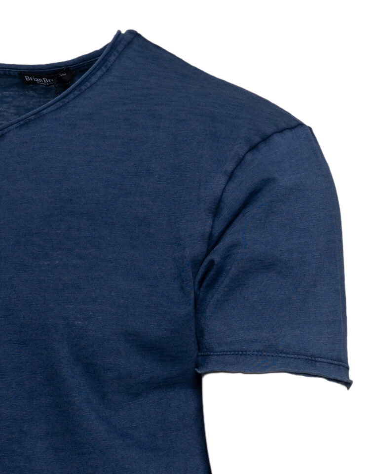 T-shirt Brian Brome TINTA UNITA COLLO V Blu - Foto 3