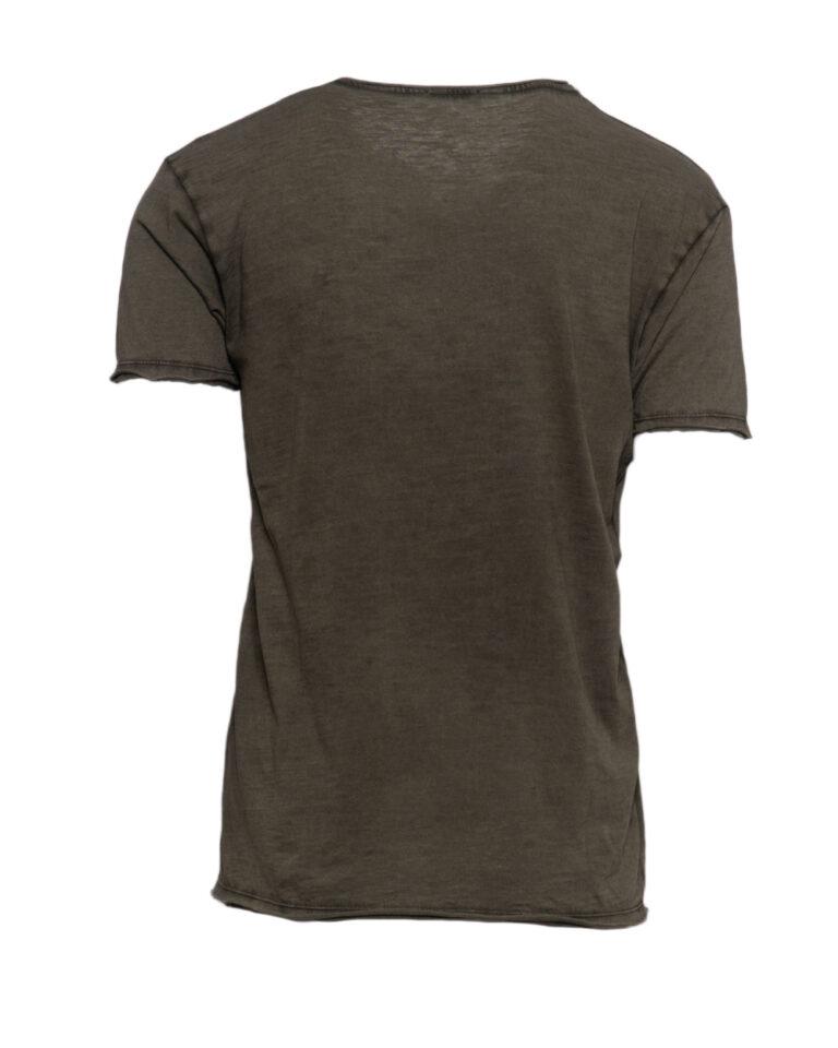 T-shirt Brian Brome TINTA UNITA COLLO V Verde Oliva - Foto 2