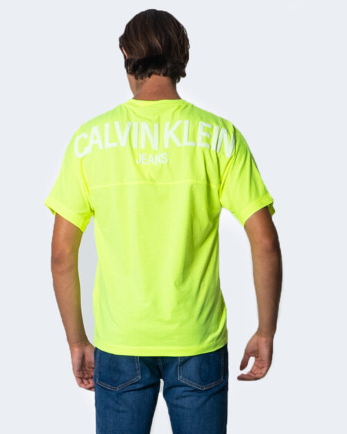 T-shirt Calvin Klein Jeans PUFF PRINT BACK LOGO T-SHIRT Giallo lime - Foto 2