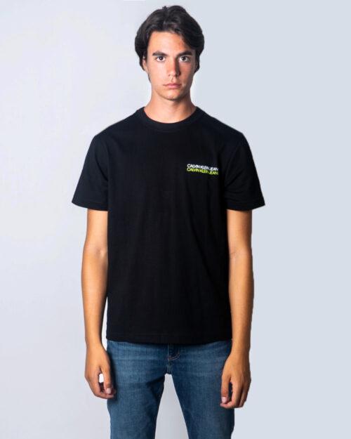 T-shirt Calvin Klein Jeans Skater Photo Neon Tee Nero - Foto 1