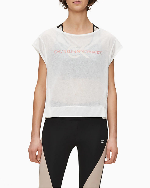T-shirt Calvin Klein Performance Cropped Short Sleeve Bianco - Foto 2