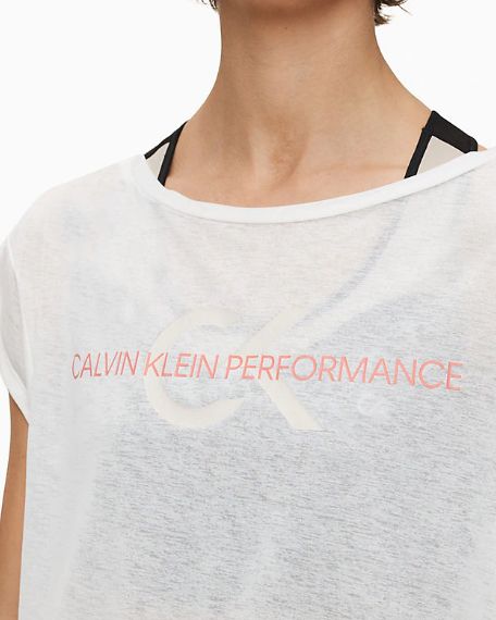 T-shirt Calvin Klein Performance Cropped Short Sleeve Bianco - Foto 4