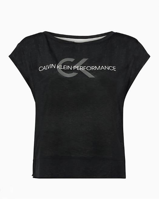 T-shirt Calvin Klein Performance Cropped Short Sleeve Nero - Foto 1