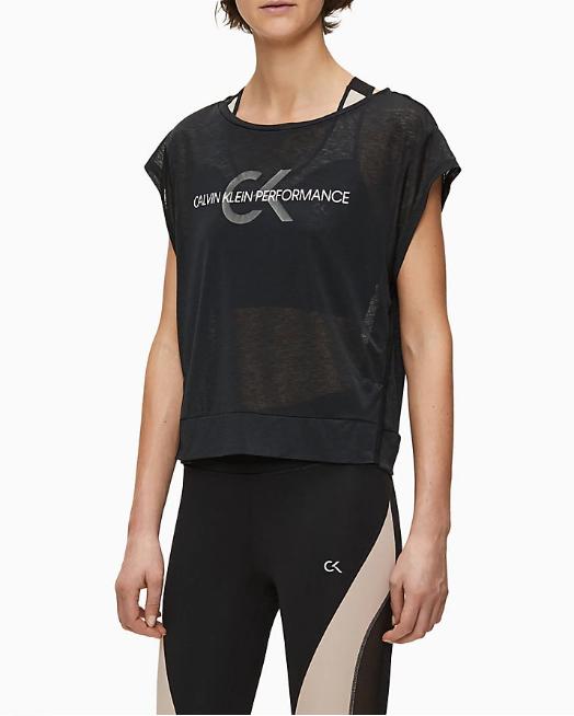 T-shirt Calvin Klein Performance Cropped Short Sleeve Nero - Foto 2