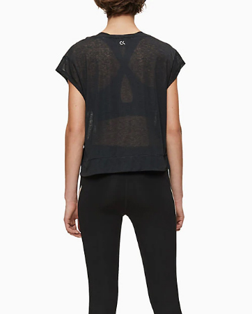 T-shirt Calvin Klein Performance Cropped Short Sleeve Nero - Foto 3