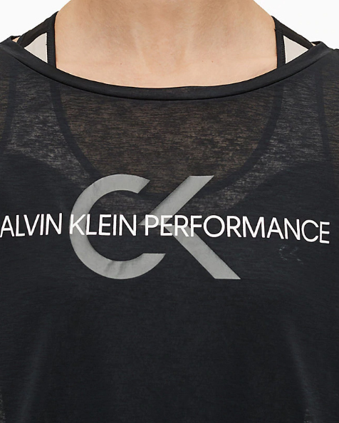 T-shirt Calvin Klein Performance Cropped Short Sleeve Nero - Foto 4