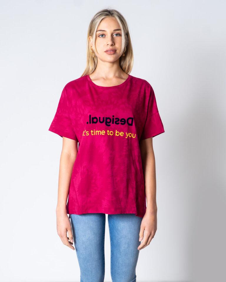 T-shirt Desigual T-SHIRT OVERSIZE NEW GALA Fuxia - Foto 2