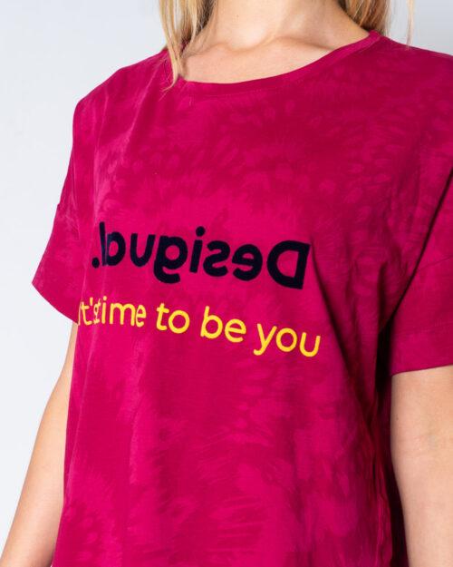 T-shirt Desigual T-SHIRT OVERSIZE NEW GALA Fuxia - Foto 4