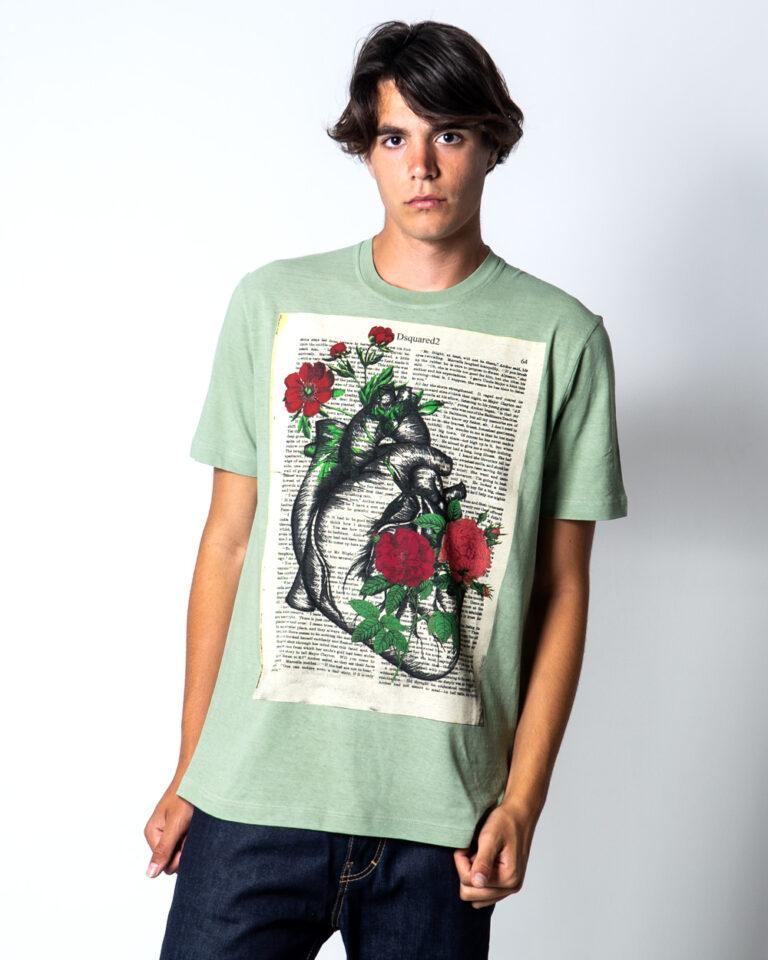T-shirt Dsquared2 Stampa fiori Verde - Foto 1