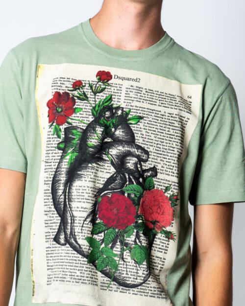 T-shirt Dsquared2 Stampa fiori Verde - Foto 3
