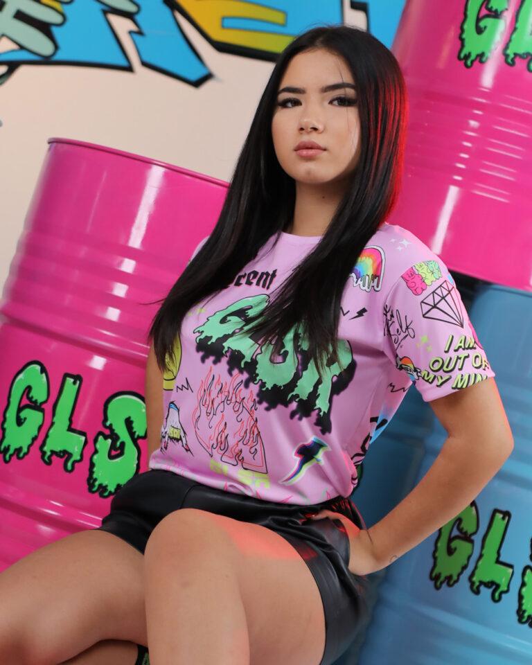 T-shirt GLSR STAMPA PUNK Rosa - Foto 1