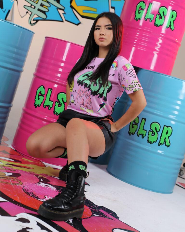 T-shirt GLSR STAMPA PUNK Rosa - Foto 2