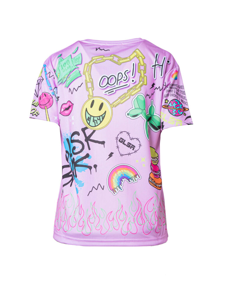 T-shirt GLSR STAMPA PUNK Rosa - Foto 4