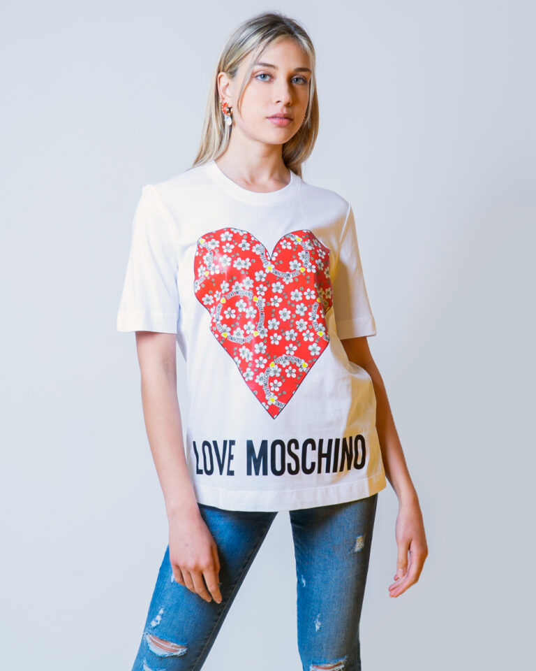 T-shirt Love Moschino CUORE LOGO Bianco - Foto 1