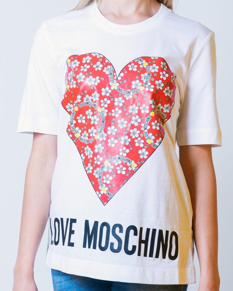T-shirt Love Moschino CUORE LOGO Bianco - Foto 3