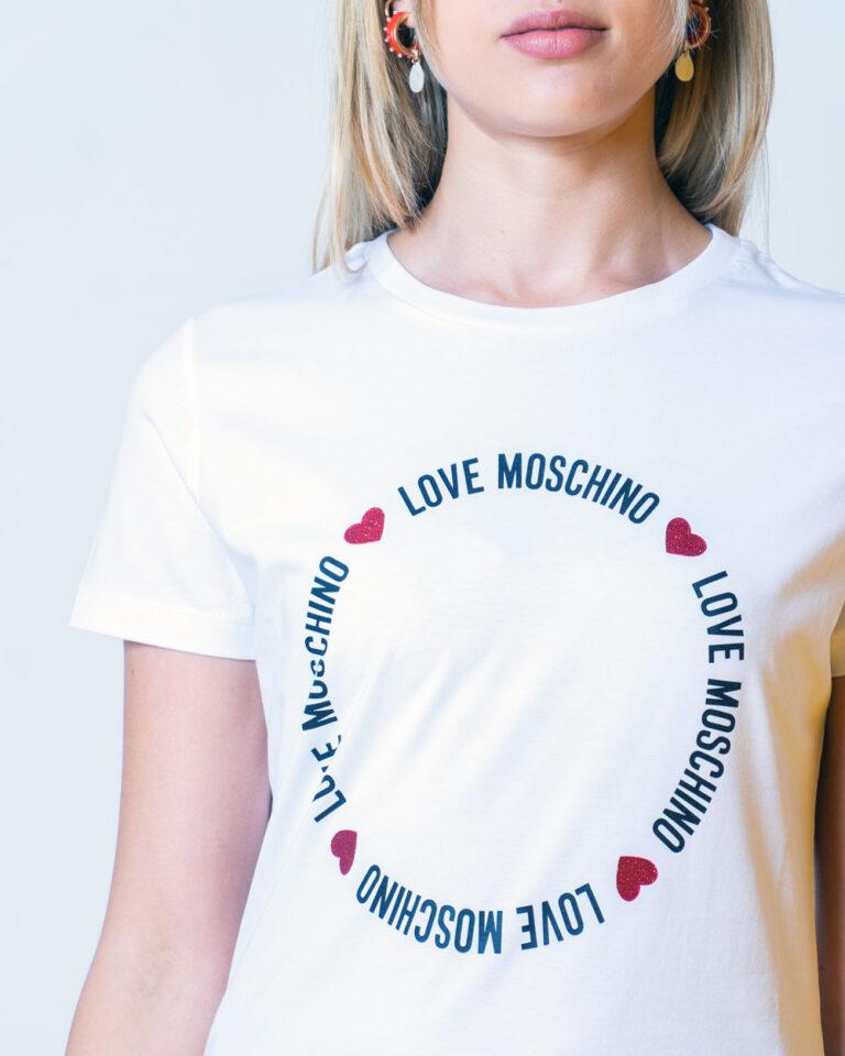 T-shirt Love Moschino LOGO CORE Bianco - Foto 4