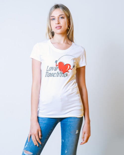 T-shirt Love Moschino STAMPA CUORE CORDA Bianco - Foto 1