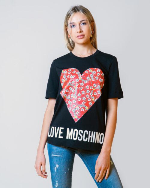 T-shirt Love Moschino CUORE LOGO Nero - Foto 1