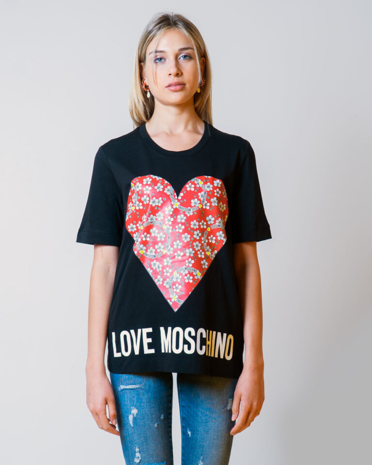 T-shirt Love Moschino CUORE LOGO Nero - Foto 2