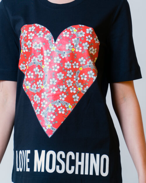 T-shirt Love Moschino CUORE LOGO Nero - Foto 4