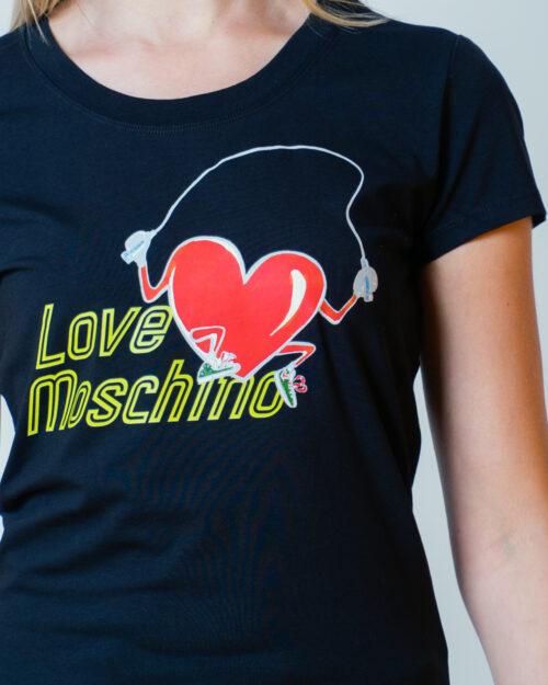 T-shirt Love Moschino STAMPA CUORE CORDA Nero - Foto 4