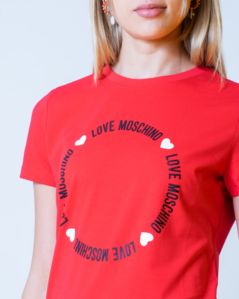 T-shirt Love Moschino LOGO CORE Rosso - Foto 4