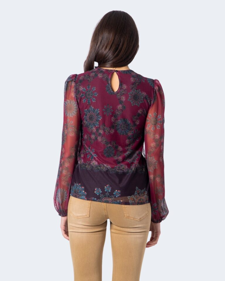 T-shirt manica lunga Desigual Ts lenny Bordeaux - Foto 3