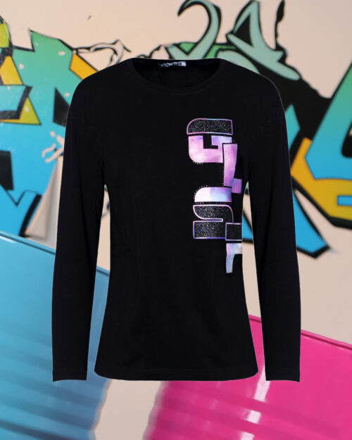 T-shirt manica lunga GLSR STAMPA LATERALE Nero - Foto 1