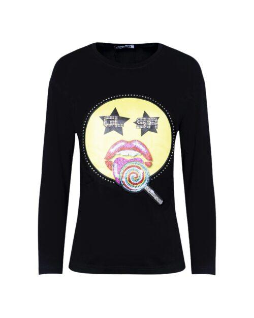 T-shirt manica lunga Glsr STAMPA SMILE Nero – 59350