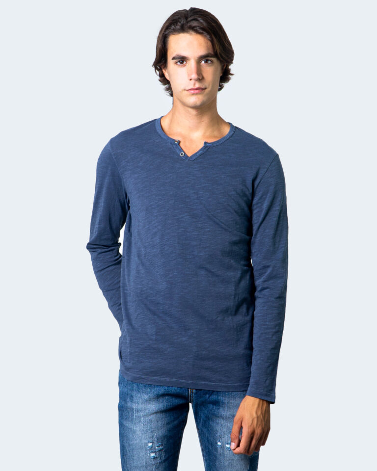 T-shirt manica lunga Jack Jones Split Neck Tee L/S Noos Blu - Foto 1
